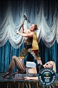circus sideshow the great gordo gamsby sword swallowing juggling nightclub freakshow guinness world records brick smash daniella dvilli