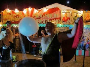 circus sideshow the great gordo gamsby sword swallowing juggling nightclub freakshow strongman fairy floss
