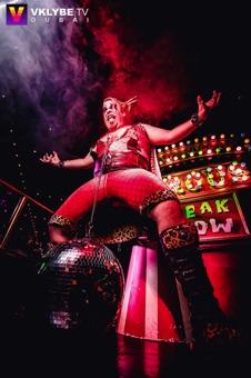 circus sideshow the great gordo gamsby sword swallowing juggling nightclub freakshow disco ball tongue lift